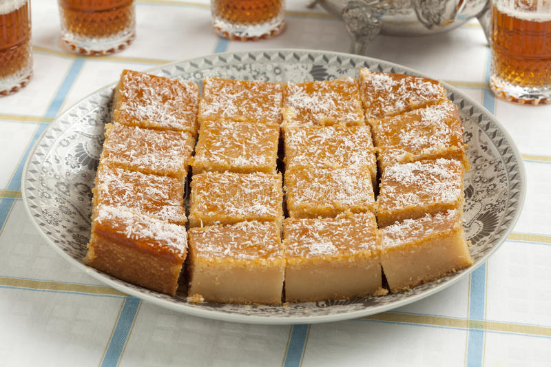 Fresh baked yogurt Moroccan cake royalty free stock image