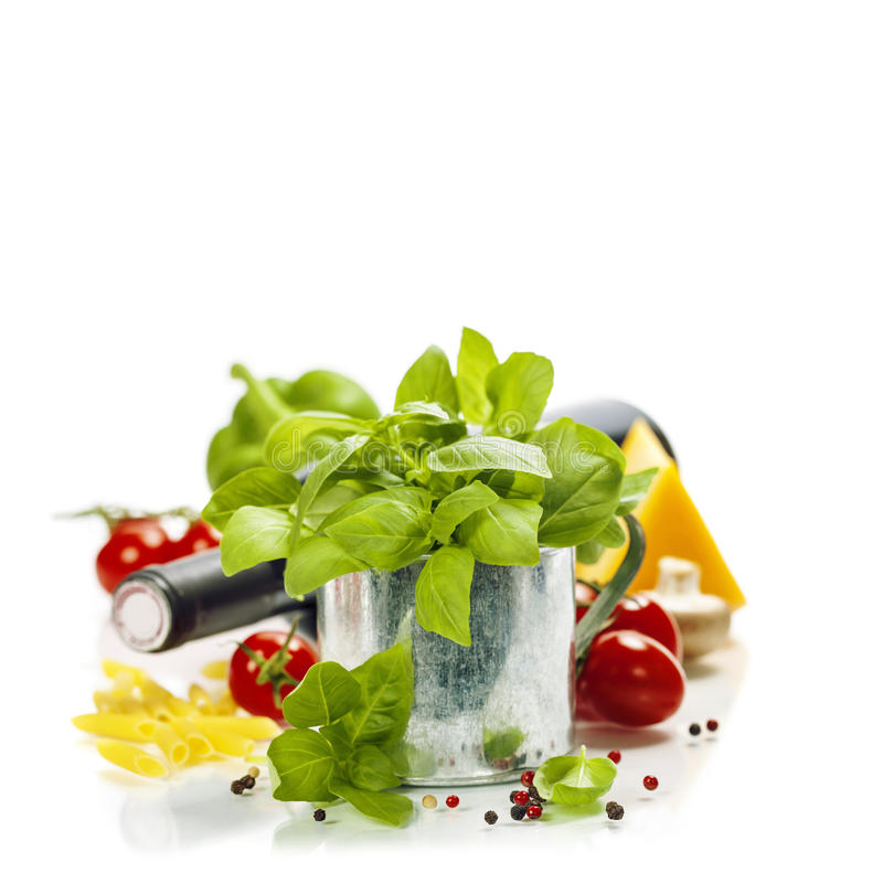Fresh basil in the pot and italian ingredients stock photos