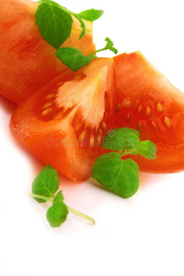 Fresh basil and tomato royalty free stock photography