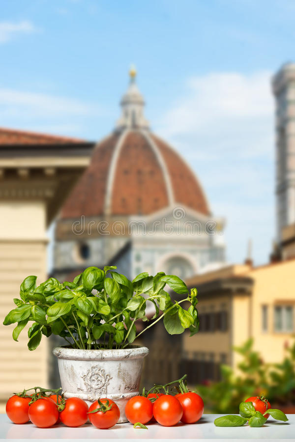 Fresh Basil and Tomatoes before a blue Sky. Fresh Tomatoes and Basil before the Duomo in Florence royalty free stock photo