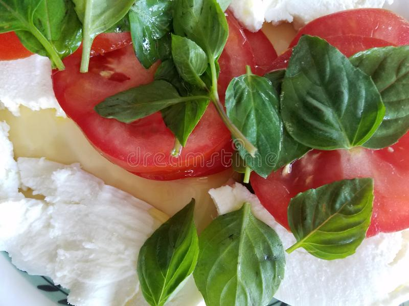 Fresh basil tomatoes and mozzarella cheese salad royalty free stock photos