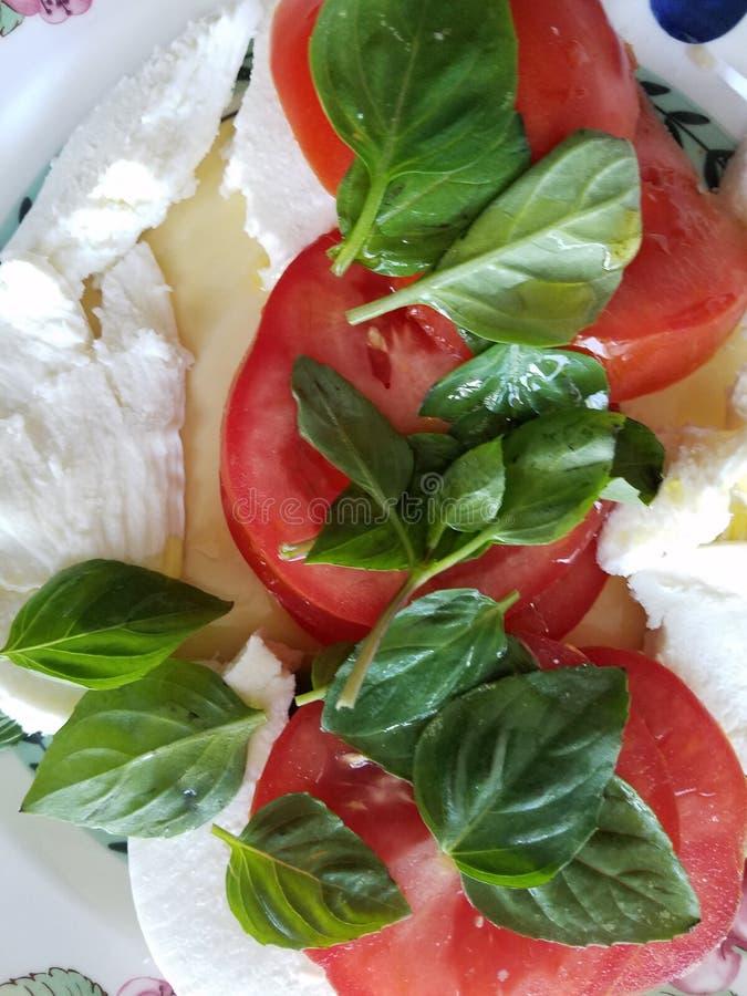 Fresh basil tomatoes and mozzarella cheese salad stock photography
