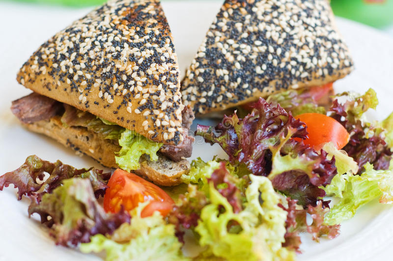 Fresh Beef And Salad Sandwich Royalty Free Stock Photo