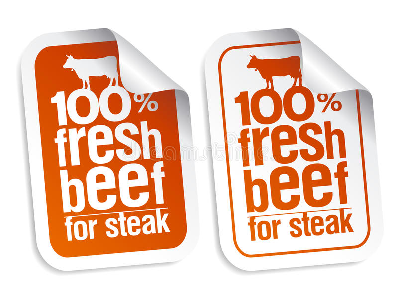 Fresh beef stickers royalty free illustration