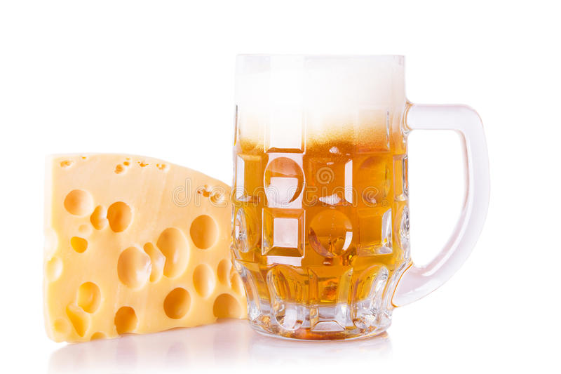 Fresh beer with cheese royalty free stock images