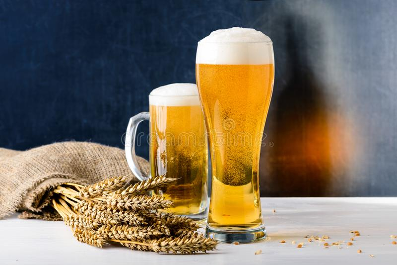 Fresh beer in a glass. The concept of food octoberfest royalty free stock photo