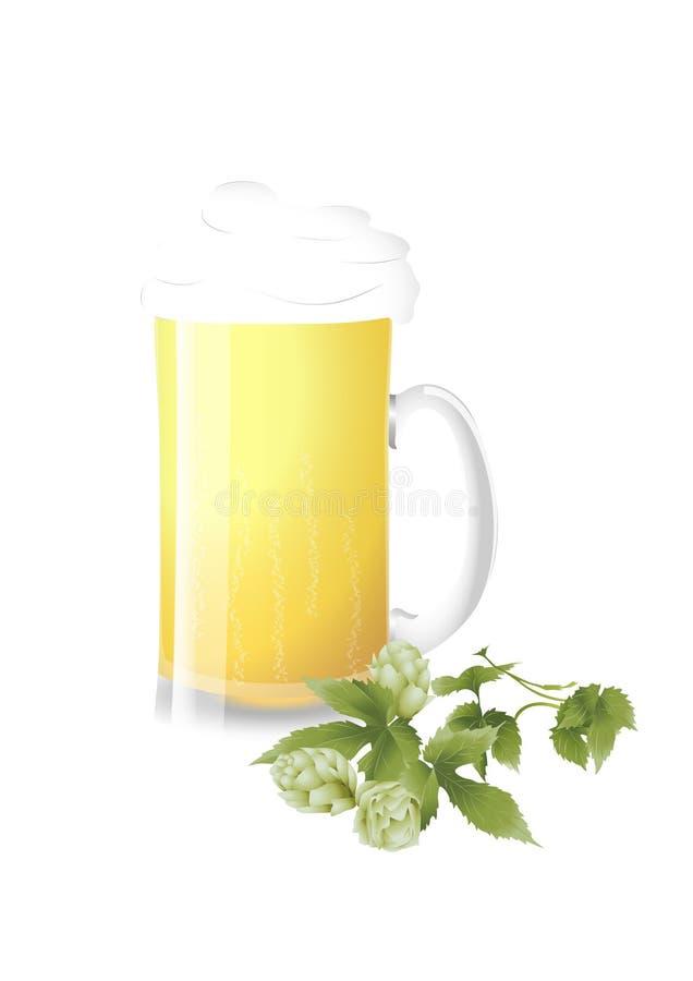 Fresh beer and green hops stock illustration