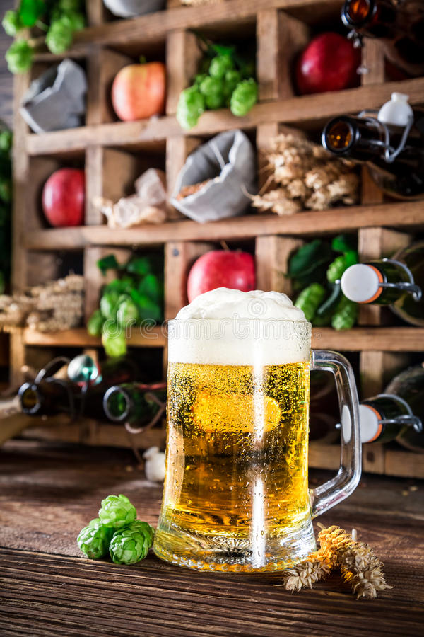 Fresh beer and ingredients in old wooden box stock photos