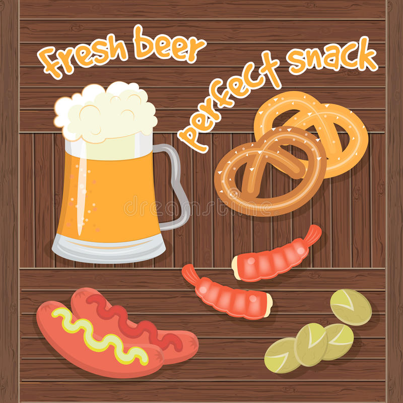 Fresh Beer and Perfect Snaсk. vector illustration