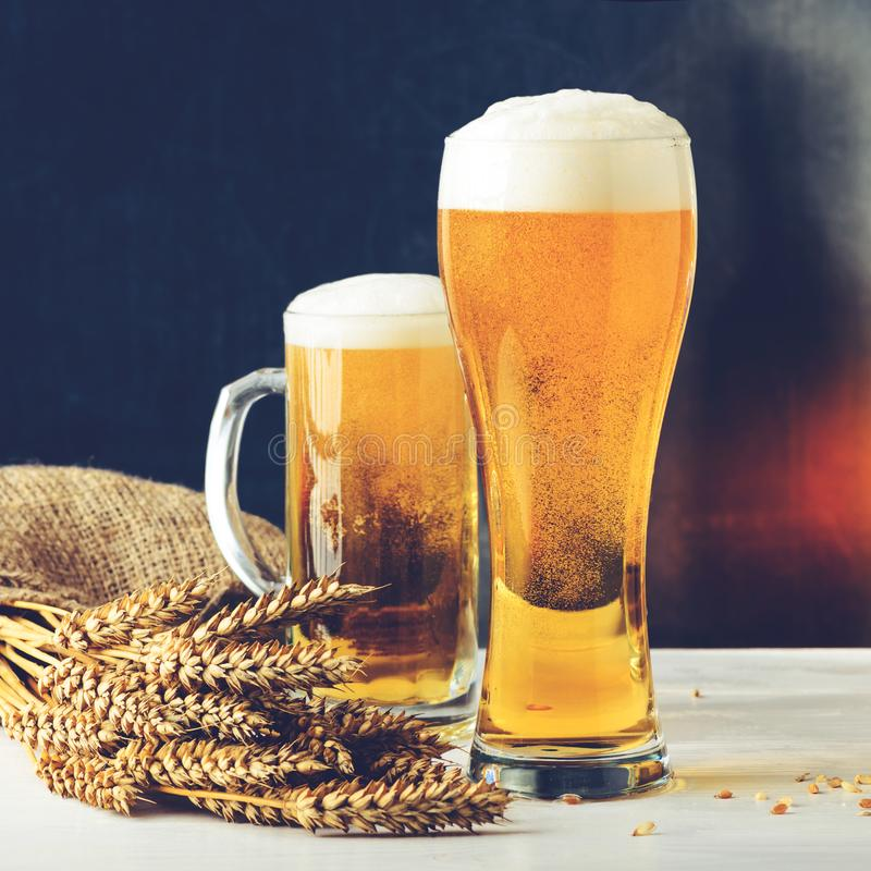 Fresh beer in two glasses against dark background. Concept of Octoberfest, food and drinking, toned image royalty free stock image