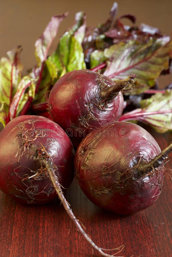 Fresh beet. Ripe, juicy, young beet on dark wooden table stock images