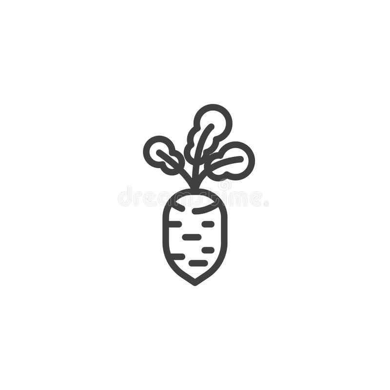 Fresh beet vegetable line icon. Linear style sign for mobile concept and web design. Beetroot outline vector icon. Symbol, logo illustration. Vector graphics vector illustration