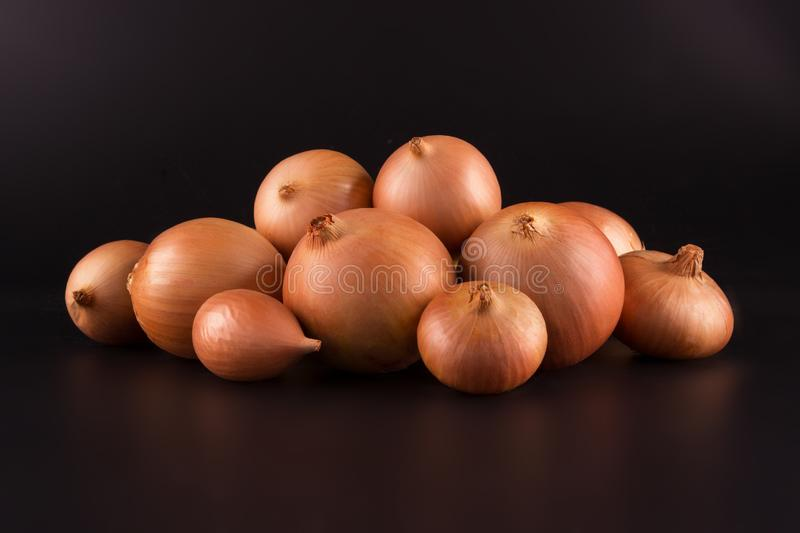 Fresh beige onions on a black background, beautifully photographed, photo for poster, banner. Fresh beige onions on a black background, beautifully photographed stock image