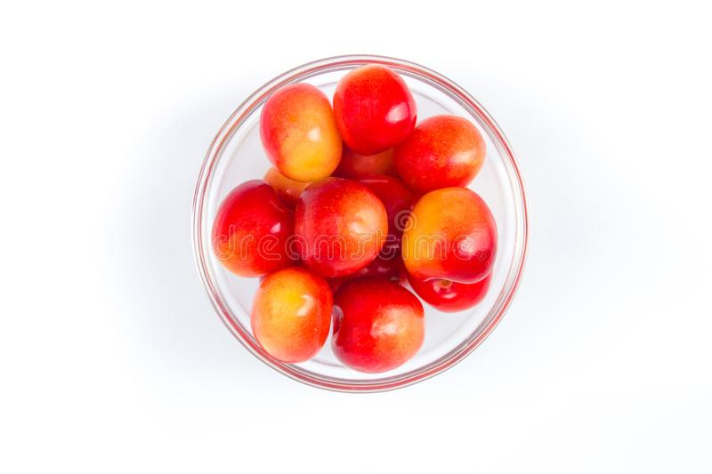 Fresh cherry on plate on Isolated white background. fresh ripe cherries. sweet cherries. Berries stock photo