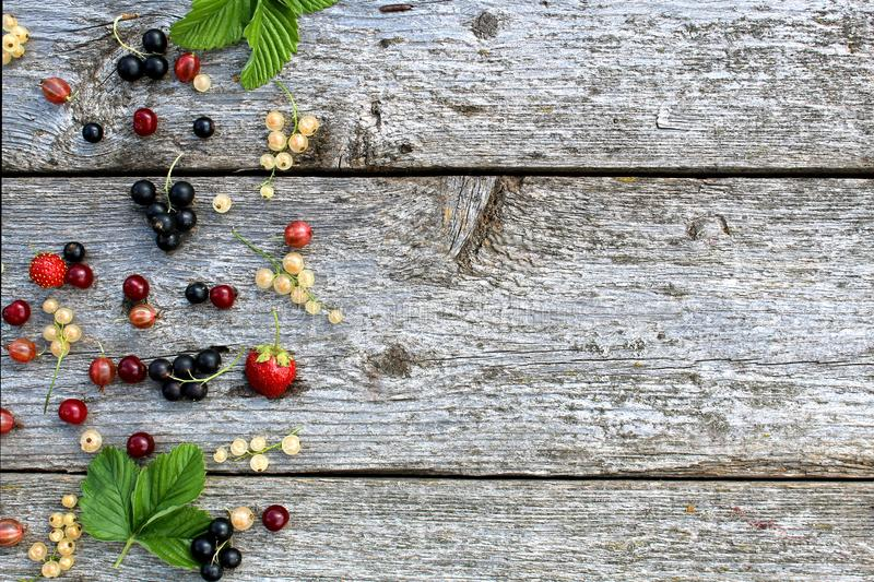 Fresh berries of white, black, currant, cherry, gooseberry and strawberry lie on the table in a scatter. Texture stock photo