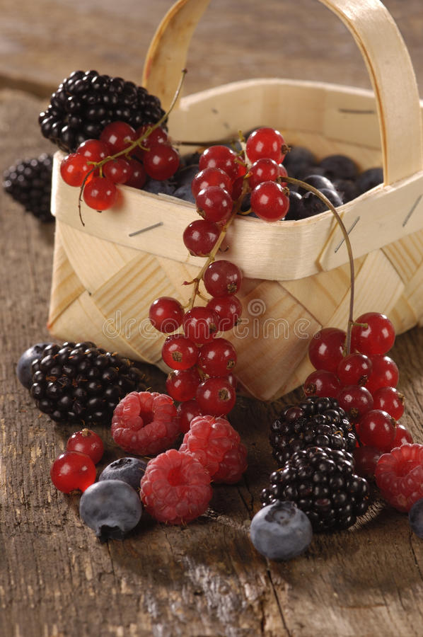 Fresh berries on a wooden table. Fresh berries in a little basket on a wooden table royalty free stock photo