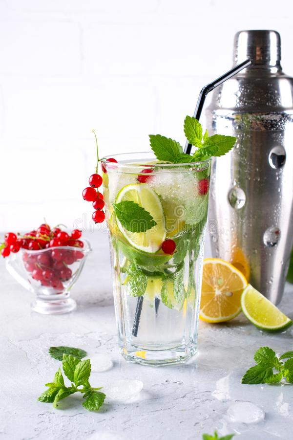 Fresh berry lemonade Home made mojito cocktail with lemon, lime, mint leaves, with ice and shaker. royalty free stock photo