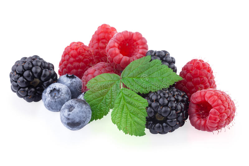 Fresh berry mix. Isolated on white background stock photo