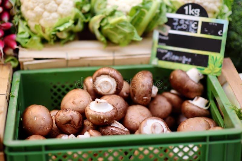 Fresh bio mushrooms on farmer market in Strasbourg, France royalty free stock images