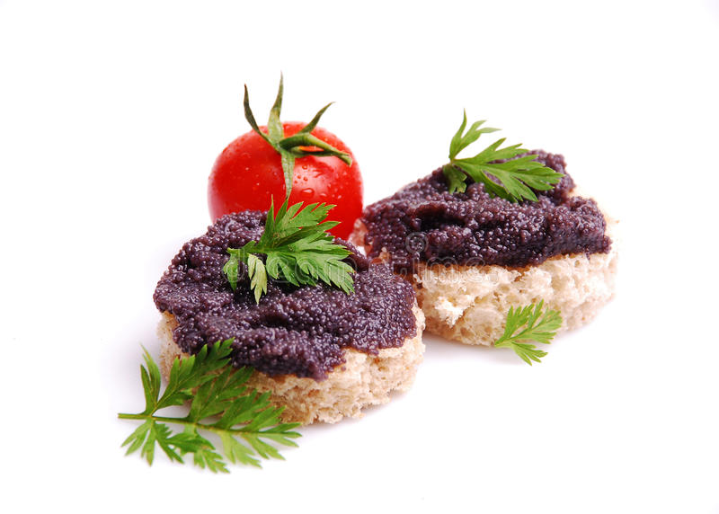 Fresh Black Fish Caviar On The Bread Stock Photo