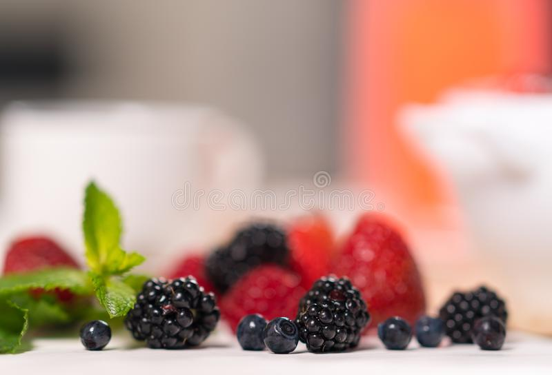 Fresh blackberries with blueberries in close up royalty free stock images