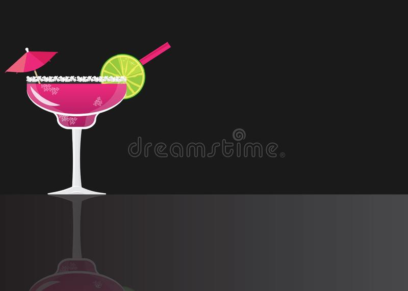 Fresh Blackberry Margarita Cocktail. On black mirrored background. Vector illustration for web and print, party invitation or menu decoration royalty free illustration