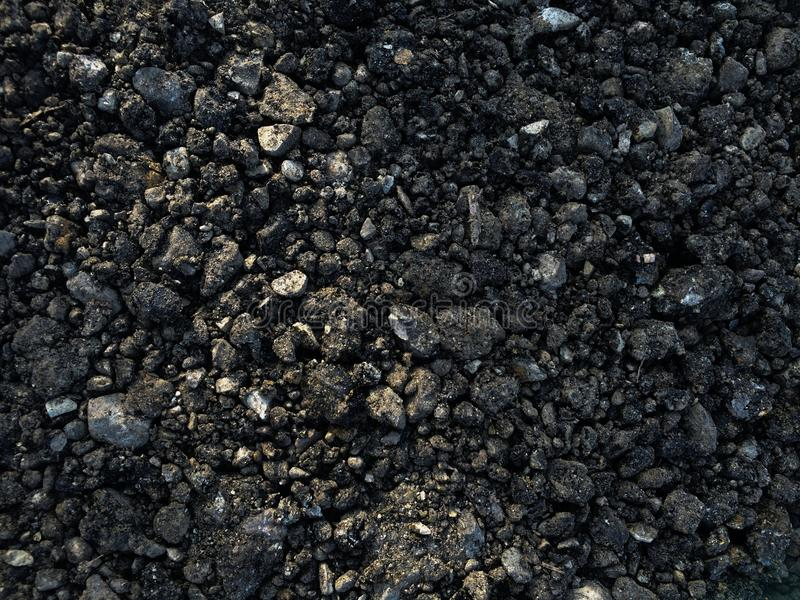 Highway Construction Materials : Fresh blacktop gravel ground road material stock photo