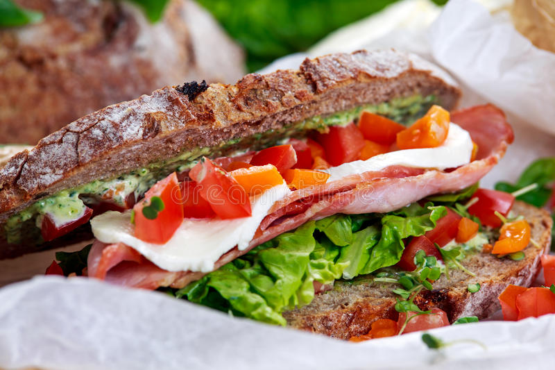 Fresh BLT Sandwich with Bacon Lettuce Tomato and Mozzarella on crumpled paper.  stock image