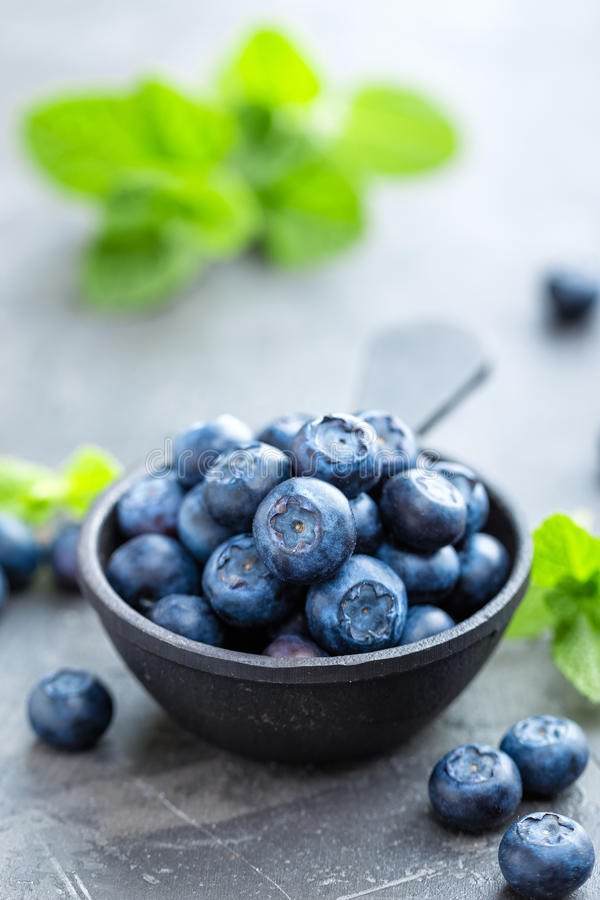 Fresh Blueberries in a bowl on dark background, top view. Juicy wild forest berries, bilberries. Healthy eating or nutrition royalty free stock photography