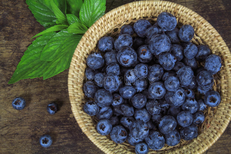 Fresh blueberry with leaf stock photo