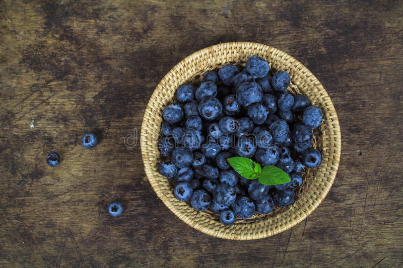 Fresh blueberry with leaf royalty free stock photos