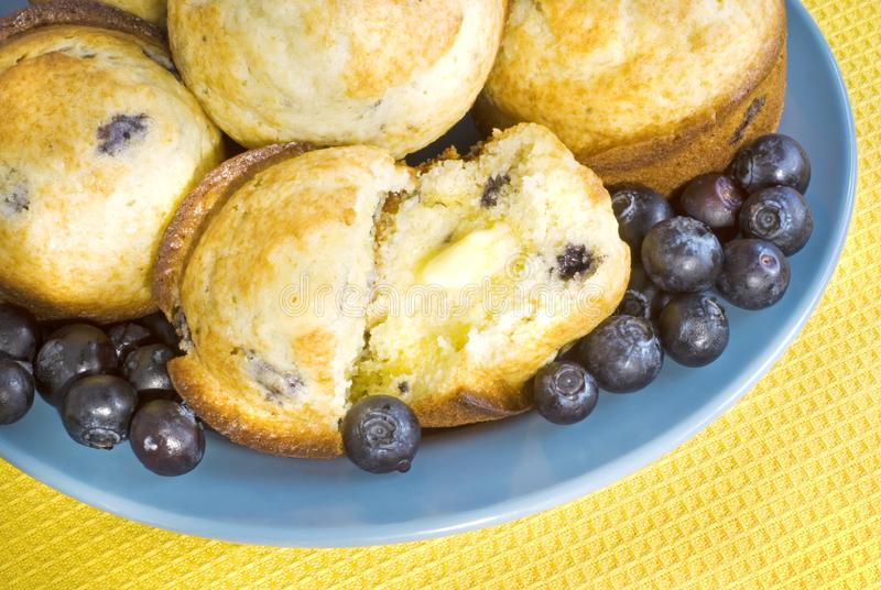 Download Fresh Blueberry Muffins With Butter Stock Image - Image of butter, delicious: 8219247
