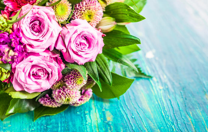 Fresh Bouquet Of Fragrant Flowers Stock Photo - Image of greeting ...