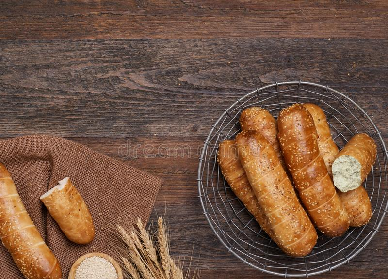 Fresh bread baguettes royalty free stock images