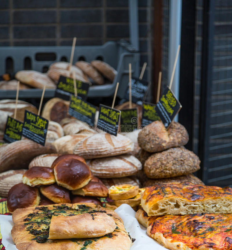 Fresh Bread and Baked Goods. In a Farmers Market stock images