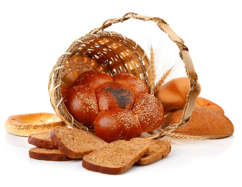 Fresh bread in the basket stock photos