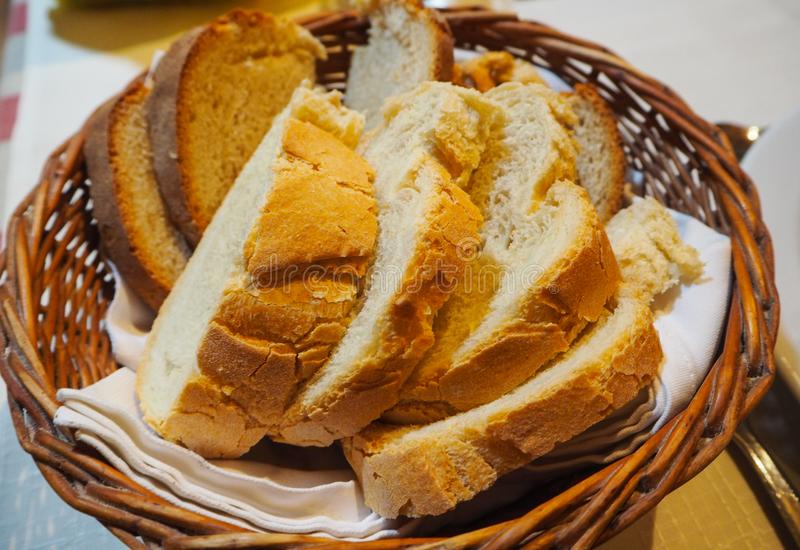 Fresh bread in a basket royalty free stock images