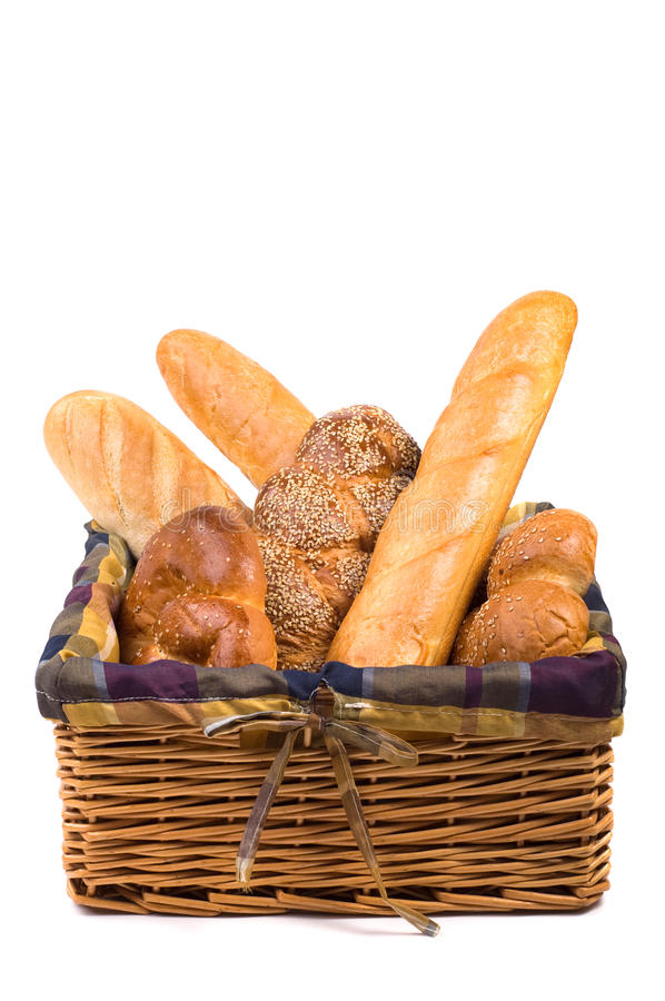Fresh bread in the basket isolated stock photography