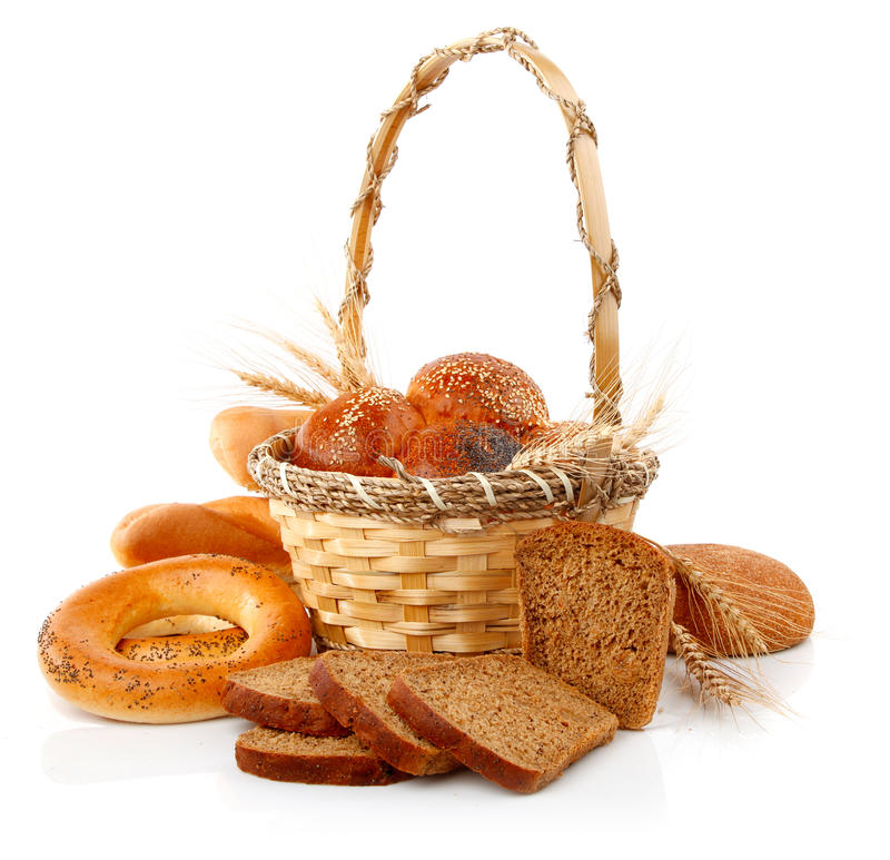 Fresh bread with corn in the basket royalty free stock photos
