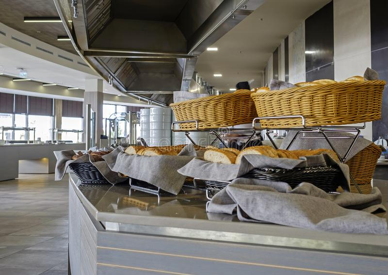Bread corner in hotel restaurant 1 stock image