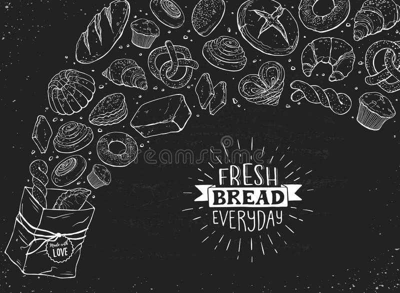 Fresh Bread Poster Vector Ilustration royalty free stock photos