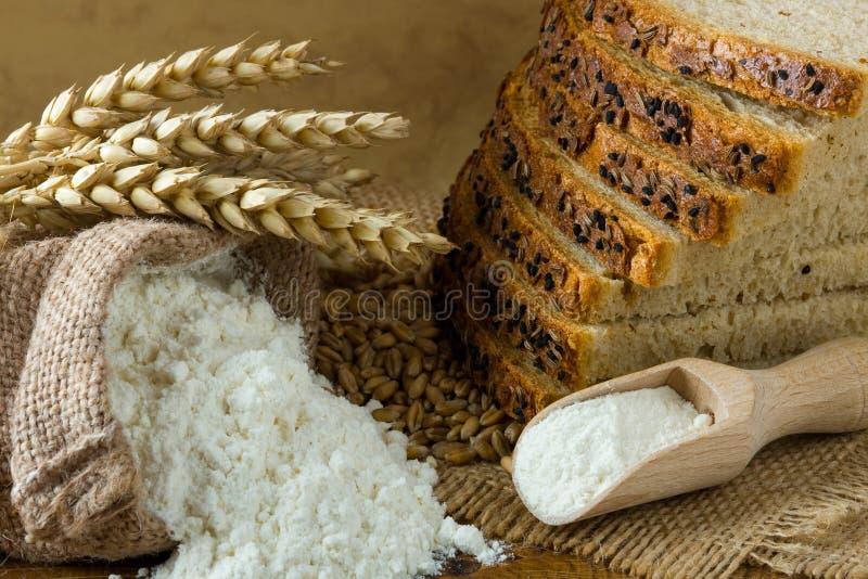 Fresh bread and flour royalty free stock photos