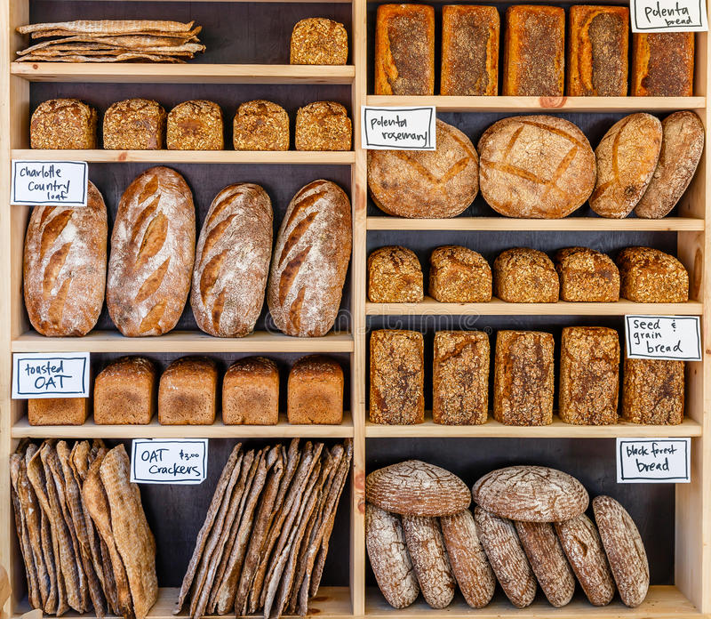Fresh Bread. Freshly baked loaves of bread on display at a framers market royalty free stock photos