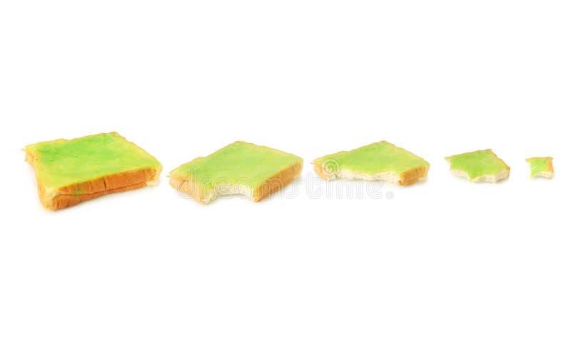Fresh bread and pandan custard.  royalty free stock image