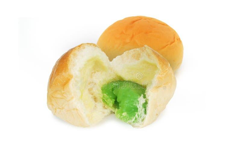 Fresh bread and pandan custard.  stock images