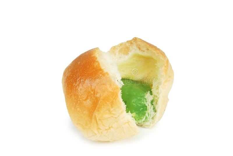 Fresh bread and pandan custard.With Clipping Path.  stock image