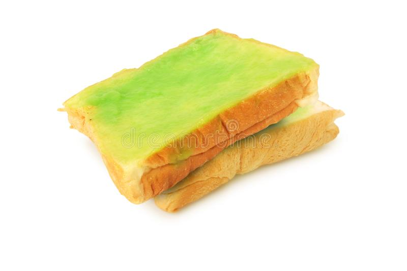 Fresh bread and pandan custard.With Clipping Path.  royalty free stock images