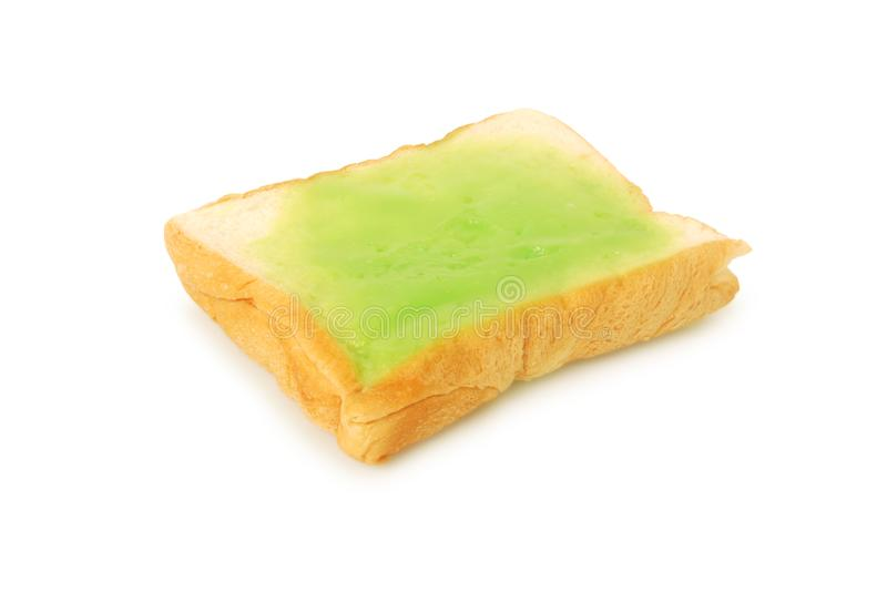 Fresh bread and pandan custard.With Clipping Path.  royalty free stock photography
