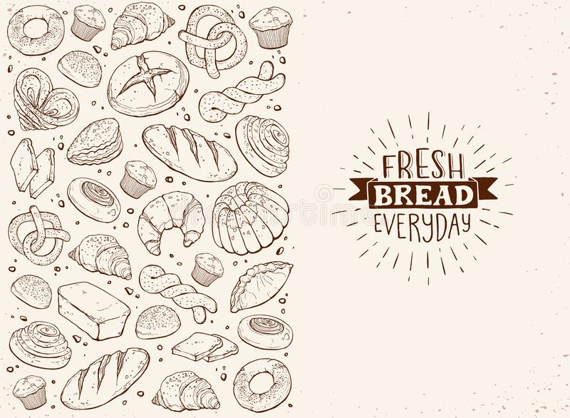 Fresh Bread Poster Vector Ilustration royalty free stock image