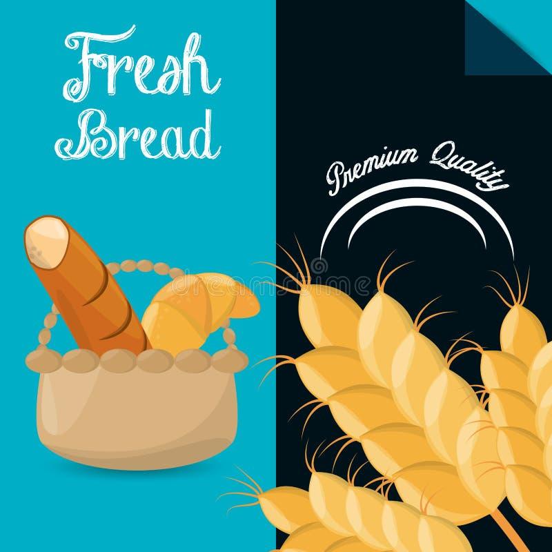 Fresh bread premium quality brochure image vector illustration